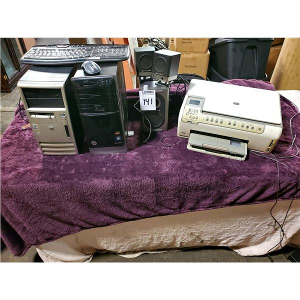 2 HP DESKTOP COMPUTERS (WINDOWS 7 & XP), KEYBOARD, MOUSE, SPEAKERS, HP C6280 PRINTER/SCANNER/COPIER