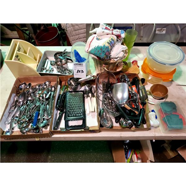 LARGE LOT OF KITCHEN UTENSILS, MOST NEW