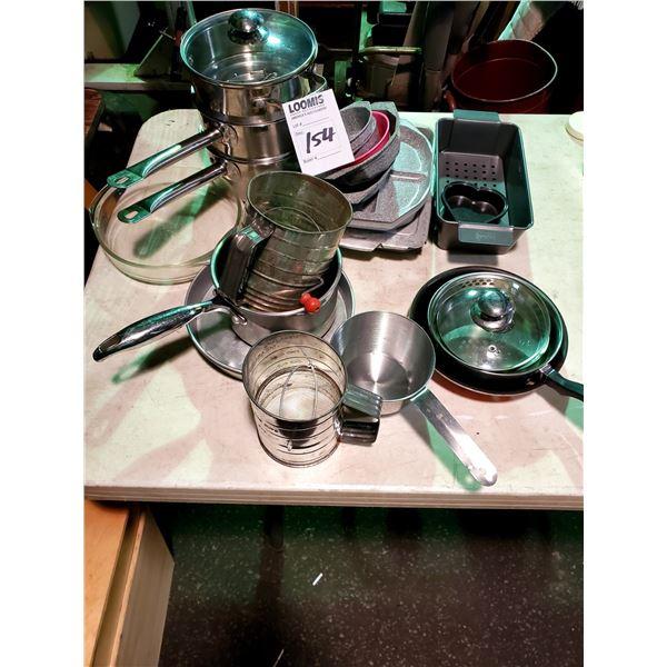 LARGE KITCHEN LOT: BAKEWARE, POTS AND PANS