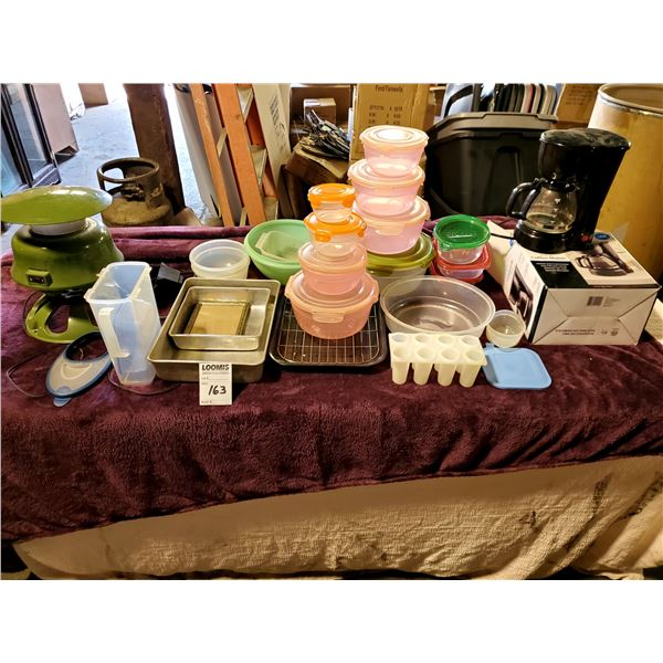 LARGE TABLE LOT: STORAGE CONTAINERS, COFFEE MAKER, BAKEWARE, RUSH HAMPTON ELECTRIC MOSQUITO/BUG CATC