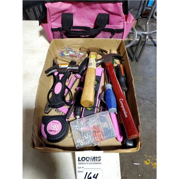 BOX FULL OF LIKE NEW HAND TOOLS W/ CARRY CASE