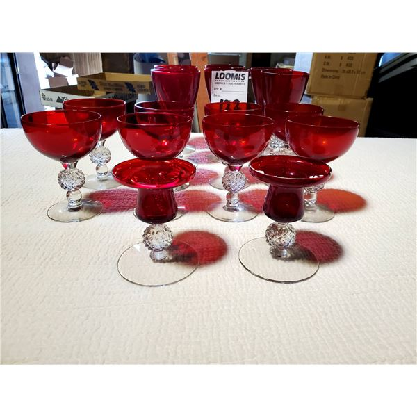 14 PCS OF RUBY RED GLASS: 6 GLASSES, 6 SHERBET GLASSES, 2 CANDLE STICKS