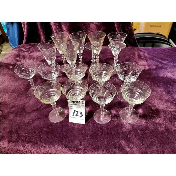 WATERFORD GLASS: 8 TALL GLASSES, 9 SHERBETS