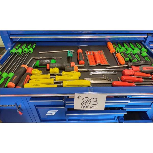 APPROX. 60 PC SNAP-ON ASSORTED SCREW DRIVERS AND OTHER ITEMS, IN NEW CONDITION