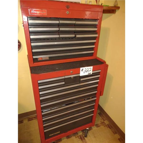 2 PC SNAP-ON ROLLING TOOL BOX, USED