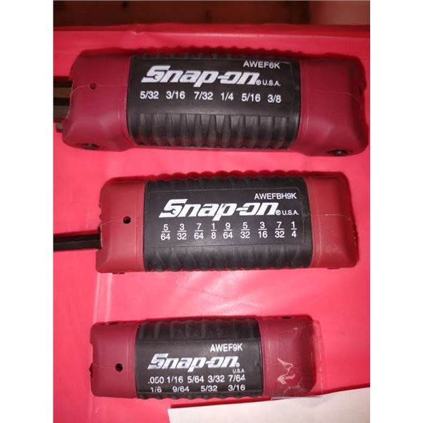 3 SNAP-ON SAE FOLDING HEX KEY SETS, LOOK NEW