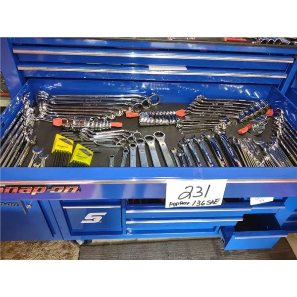 SNAP-ON ASSTD. SAE TOOLS DRAWER, APPROX. 136 PCS, NEW AND LIKE-NEW
