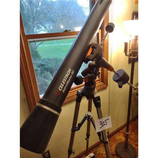 CELESTRON ASTRO MASTER 90 TELESCOPE W/ CASE AND EXTRA LENSES