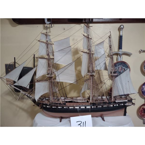 LARGE WOODEN HAND MADE MODEL SHIP