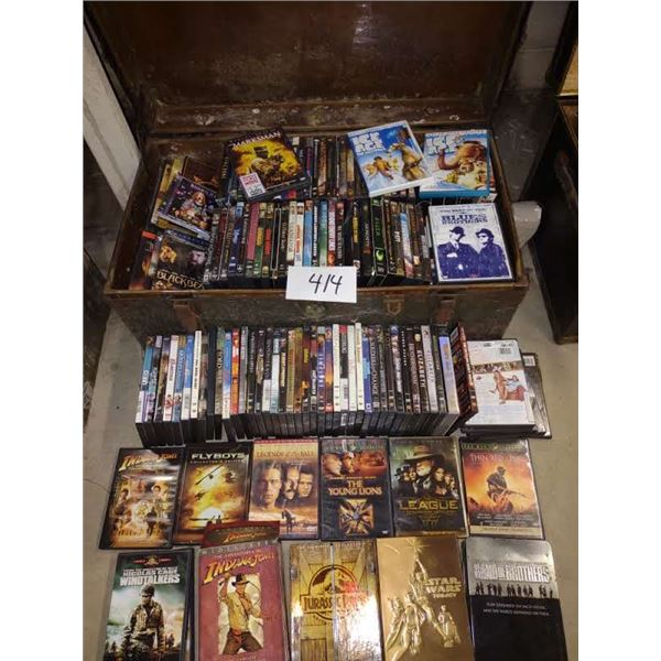 HUGE COLLECTION OF TOP MOVIES ON DVD, 100 OR MORE, CDS AND SOME VHS IN ANTIQUE METAL TRUNK (2 LAYERS
