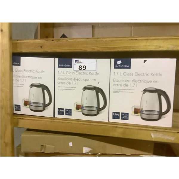3 INSIGNIA 1.7L GLASS ELECTRIC KETTLES