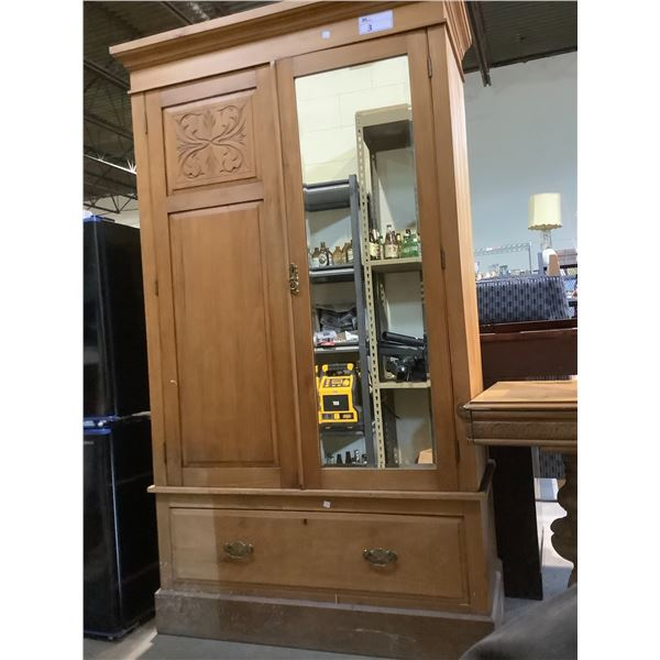 2 PIECE WARDROBE WITH MIRROR AND DRAWER