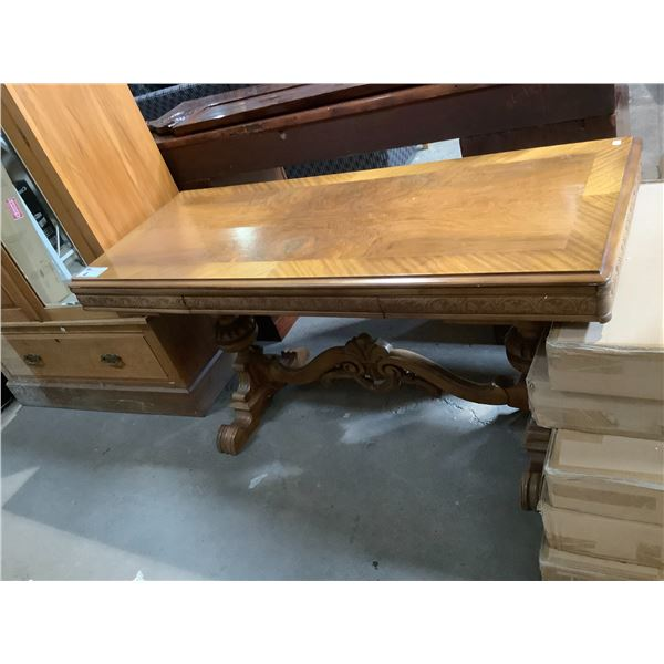"""WALNUT AND MAHOGANY CARVED ANTIQUE OCCASIONAL TABLE APPROX 59"""" X 24"""""""