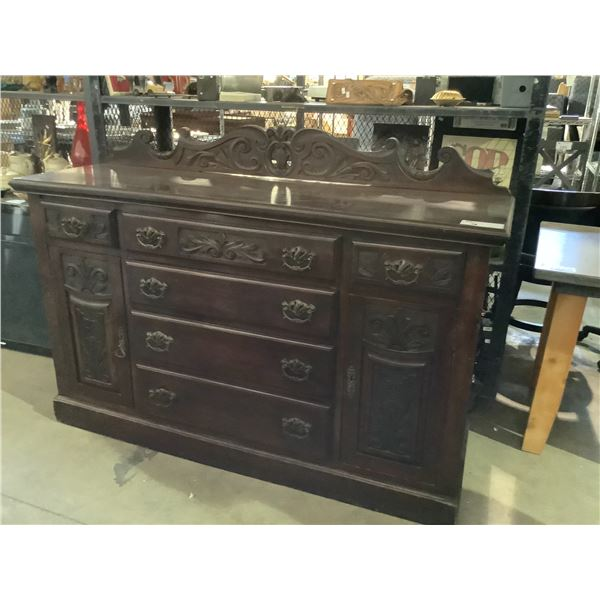"""ANTIQUE CARVED SIDEBOARD WITH ORIGINAL HARDWARE AND BACKSPLASH APPROX 63"""" X 20"""" X 38"""""""