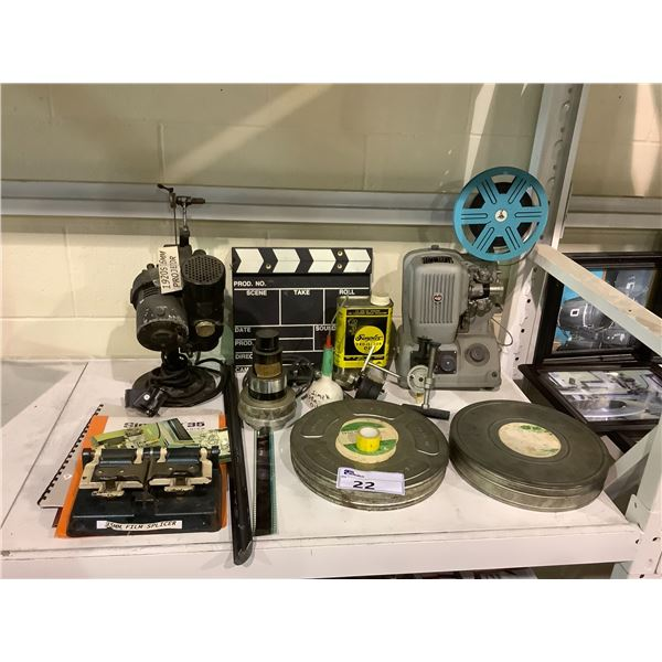 SHELF OF ASSORTED FILM EQUIPMENT; 35MM FILM SPLICER, 1920S 16MM PROJECTOR AND MORE