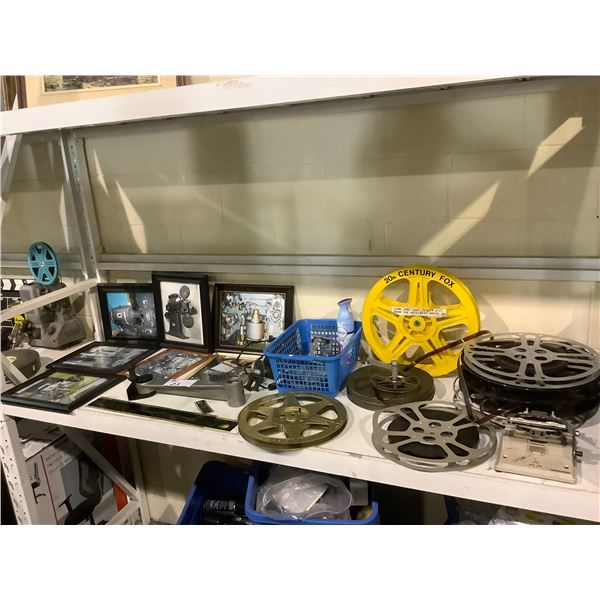 SHELF OF ASSORTED FILM EQUIPMENT; FILM PIECES, REELS, FILM SPLICER, PICTURES AND MORE