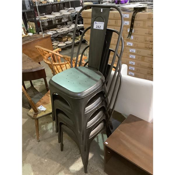 4 METAL STACKABLE CHAIRS