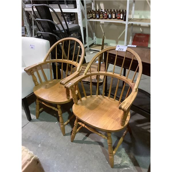 PAIR OF SOLID OAK WINDSOR BACK ARMCHAIRS