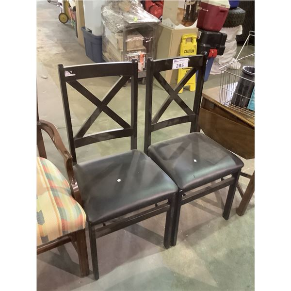 2 BLACK LEATHER & WOOD DINING CHAIRS
