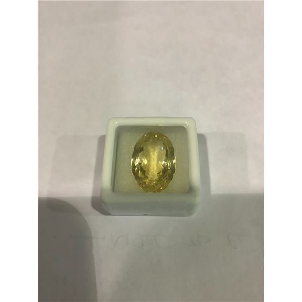 24.67 CT EXCEPTIONAL BIG CITRINE (21.48 X 14.42 X 11.74 MM) OVAL CUT, LOUPE CLEAN, BRAZIL,