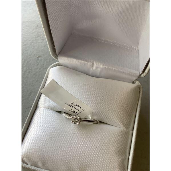 10K WHITE GOLD 0.19 CT DIAMOND RING SIZE 6.5