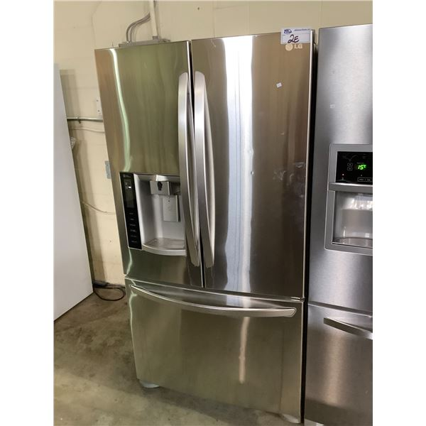 LG STAINLESS STEEL FRENCH DOOR FRIDGE WITH ICE AND WATER MODEL #UNKNOWN, VISIBLE DAMAGE