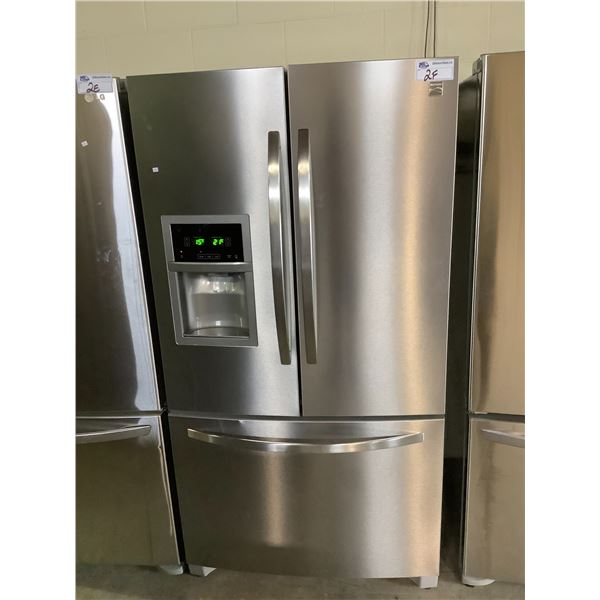 KENMORE STAINLESS STEEL FRENCH DOOR FRIDGE WITH ICE AND WATER MODEL #790-705031 VISIBLE DAMAGE