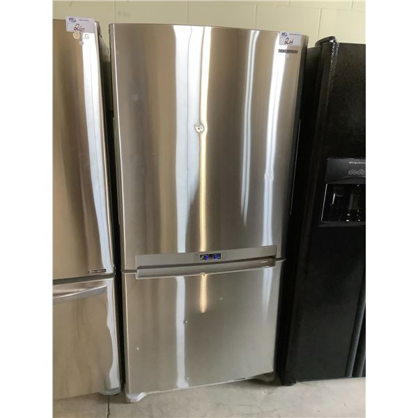 SAMSUNG TOP AND BOTTOM STAINLESS STEEL FRIDGE MODEL #RB194ACRS VISIBLE DAMAGE