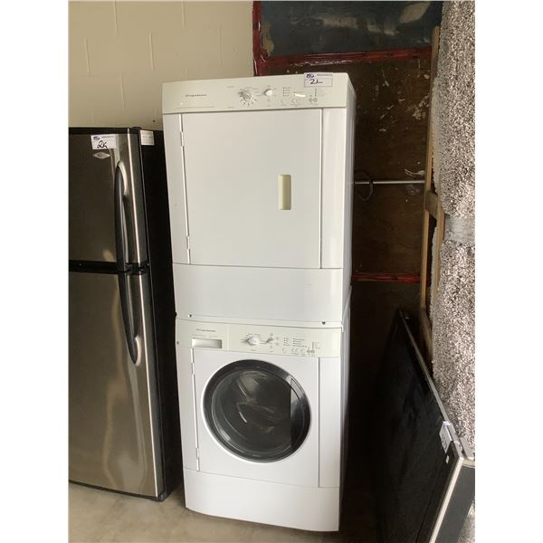 FRIGIDAIRE STACKING WASHER AND DRYER, DRYER MODEL #FEQ1442CES0 WASHER #FTF2140ES0