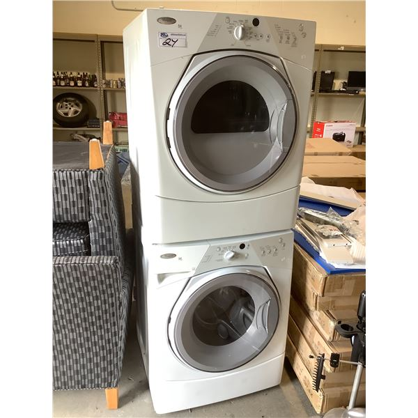 WHIRLPOOL DUET SPORT STACKING WASHER DRYER, DRYER MODEL #YWED8300SW1 WASHER MODEL #WFW8300SW04