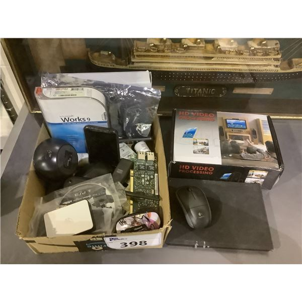 MICROSOFT WORKS 9, HD VIDEO PROCESSING UNIT, TABLET COVER, ASSORTED MICE, AND MORE ASSORTED