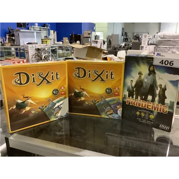 3 BOARD GAMES (MAY BE MISSING PIECES) DIXIT & PANDEMIC