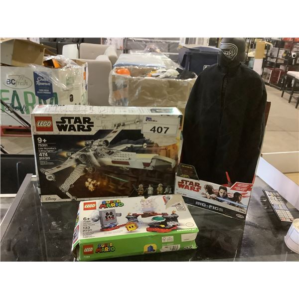STAR WARS LEGO LUKE SKYWALKERS X-WING FIGHTER, LEGO SUPER MARIO WHOMP'S LAVA TROUBLE, AND STAR WARS