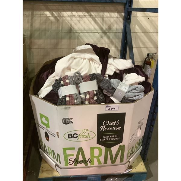 LARGE BIN OF ASSORTED SOCKS AND SWEATERS