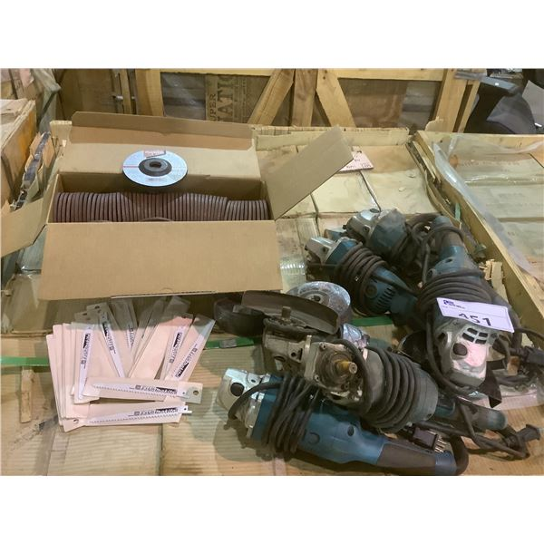 6 MAKITA GRINDERS, ASSORTED NEW GRINDING DISCS AND SAW BLADES (MAKITA AND 3M)