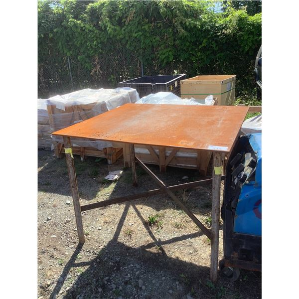 """LARGE METAL WORKTABLE APPROX 45"""" X 48 3/4"""" X 38"""""""