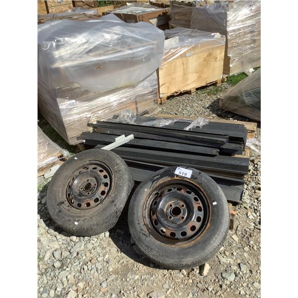 PALLET OF METAL BRACKETS AND 2 TIRES