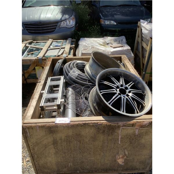 CRATE WITH RIMS, METAL HOSING AND MORE
