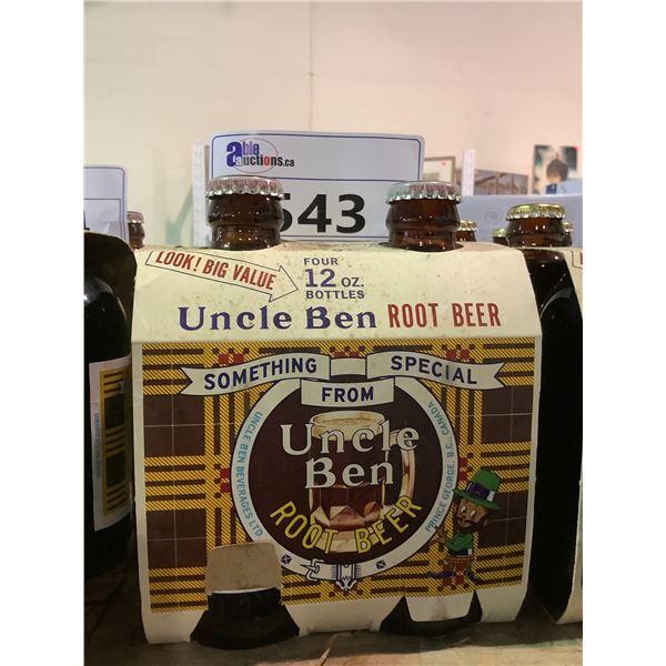 4 PACK VINTAGE UNOPENED UNCLE BEN ROOT BEER