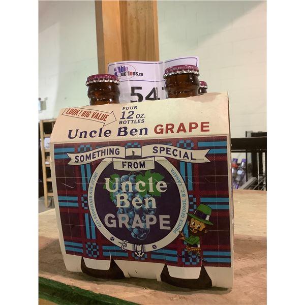 4 PACK VINTAGE UNOPENED UNCLE BEN GRAPE SODA