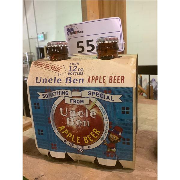 4 PACK VINTAGE UNOPENED UNCLE BEN APPLE BEER