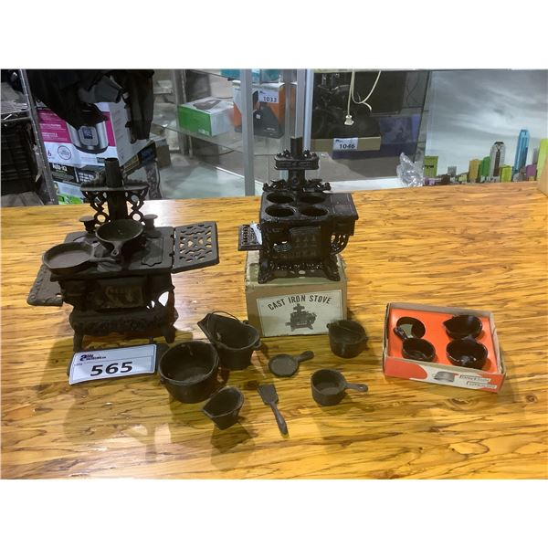 2 CAST IRON MINI STOVES WITH ACCESSORIES