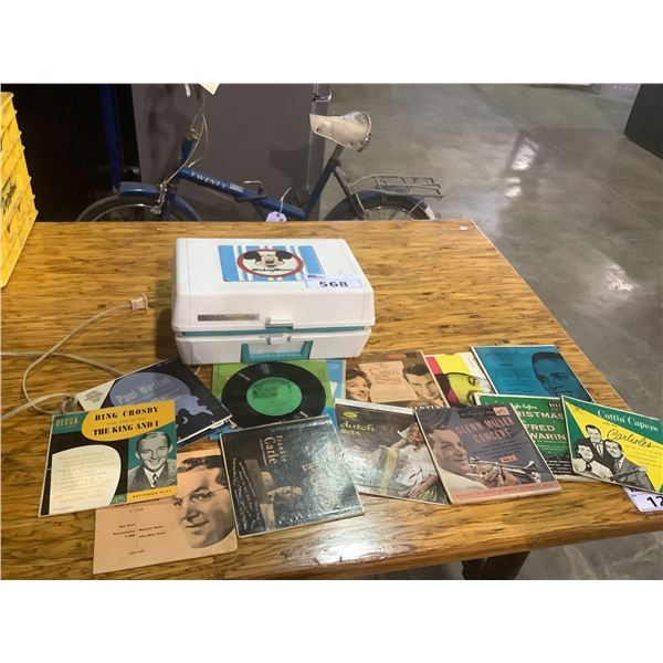 GE MICKEY MOUSE TURNTABLE AND ASSORTED RECORDS