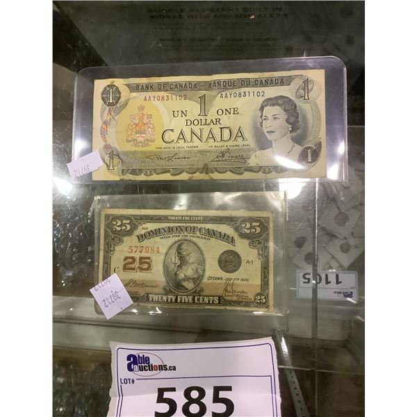 CANADIAN $1 AND DOMINION OF CANADA 25 CENT BILL