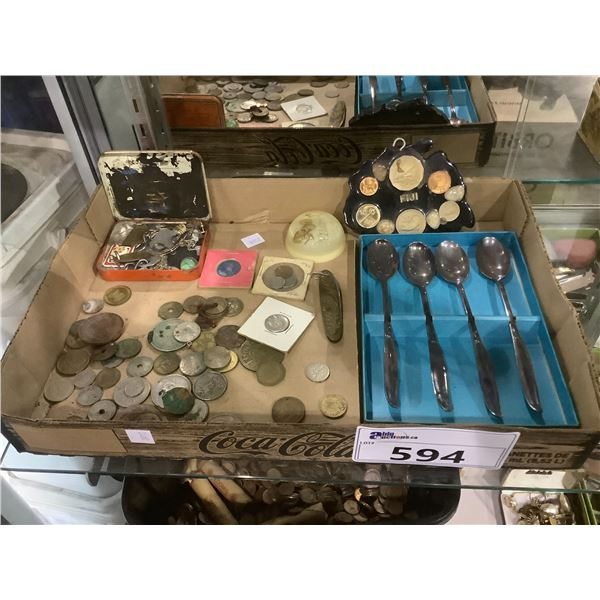 TRAY OF ASSORTED COINS, SPOONS, PAPERWEIGHT AND MORE