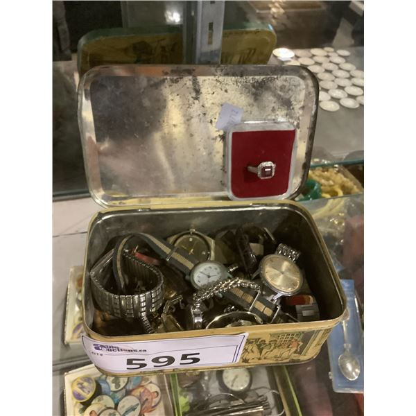 TIN OF ASSORTED WATCHES AND RING