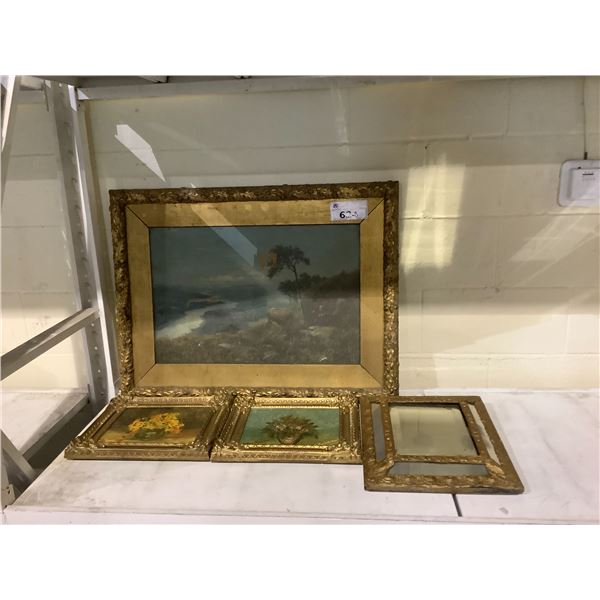 ASSORTED GILDED FRAME ART AND MIRROR