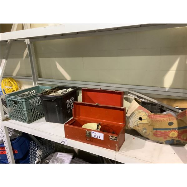 2 TOOLBOXES WITH ASSORTED TOOLS AND CONTENTS, CRATE OF CAR PARTS AND MORE