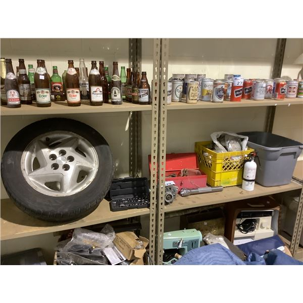 TOOLBOX WITH CONTENTS, SOCKET SET, MILK CRATE OF ASSORTED PARTS, FIRE EXTINGUISHER AND TIRE ON