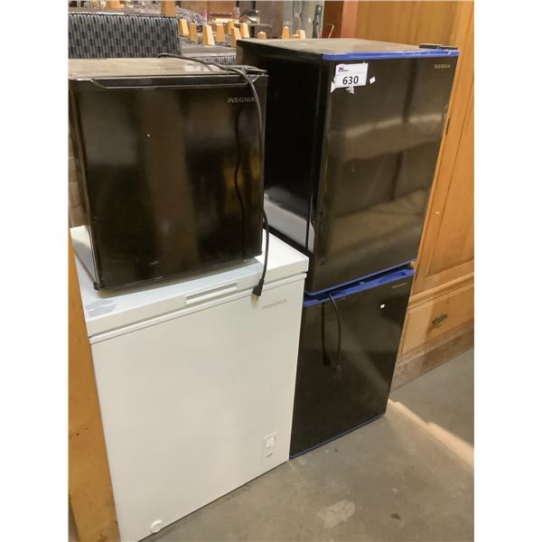 4 INSIGNIA PRODUCTS FOR PARTS AND REPAIR (3 MINI FRIDGES AND 1 CHEST FREEZER)